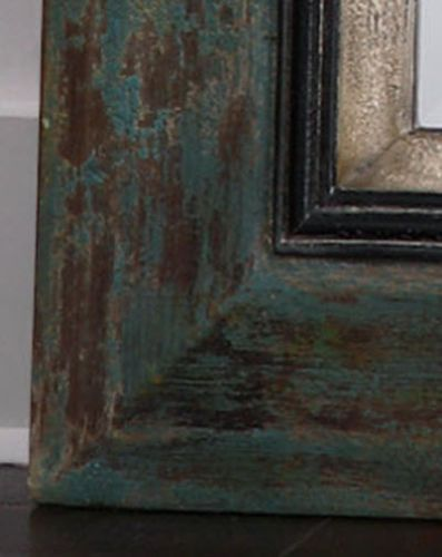 Distressed Wood Floor Mirror Teal Blue Black Stately 62 Large Full Length New