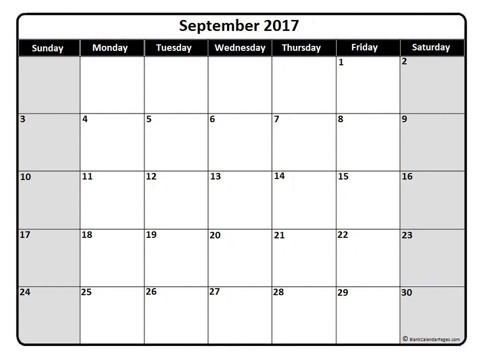 September 2017 monthly calendar printable Printable calendars