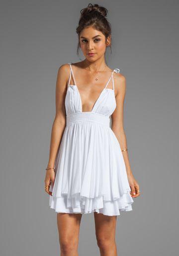 INDAH Ophelia Rayon Chiffon Keyhole Adjustable Tie Top Dress with Smocked Waistline in White