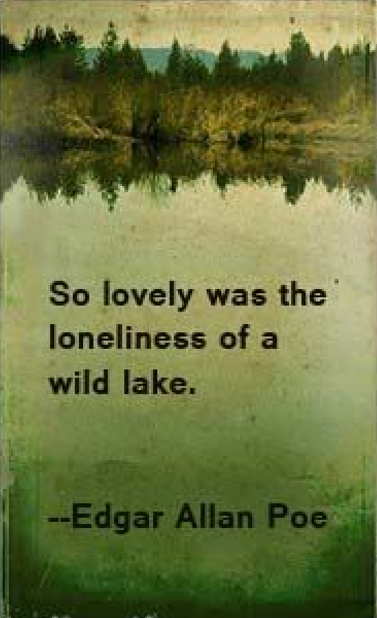 """""""So lovely was the loneliness of a wild lake"""" -Edgar Allen Poe"""