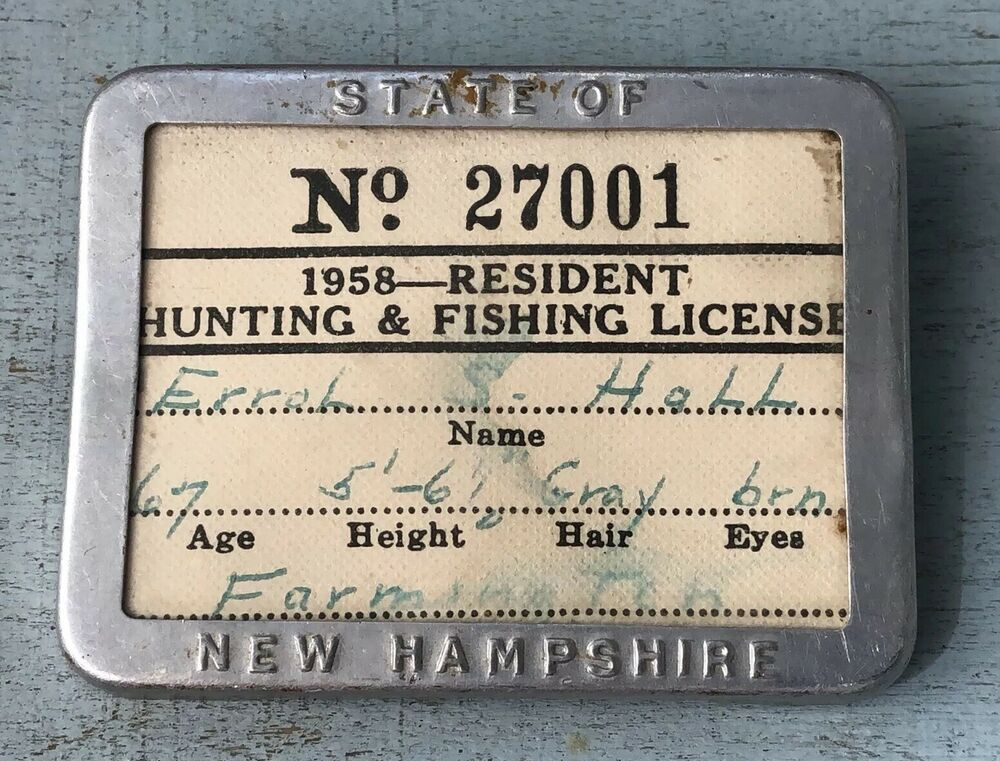 Vintage 1958 New Hampshire Resident Hunting Fishing License