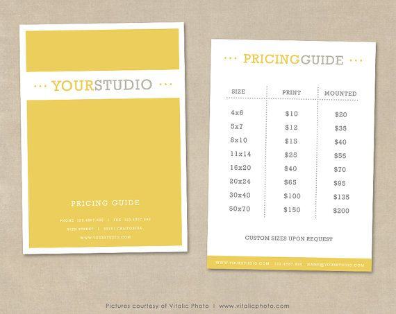 Photography Pricing Guide Template, Price List Photoshop Template