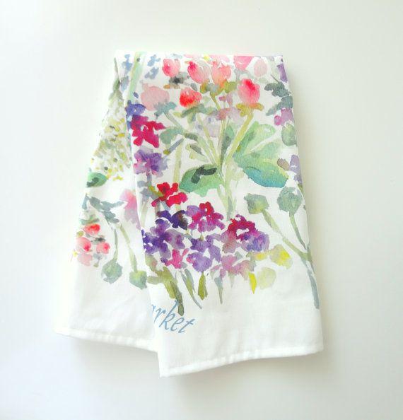 Floral Market Tea Towel Watercolor Tea Towel Watercolor Floral