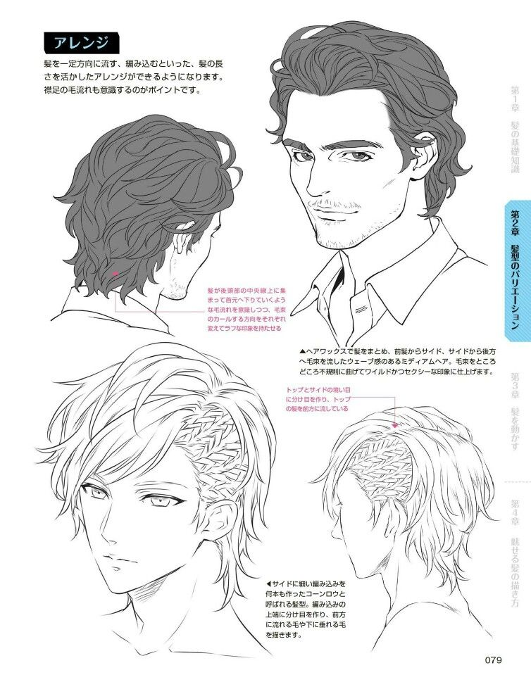 Boy Braids Undercut Pulled Back Hair Reference How To Draw Hair Drawings