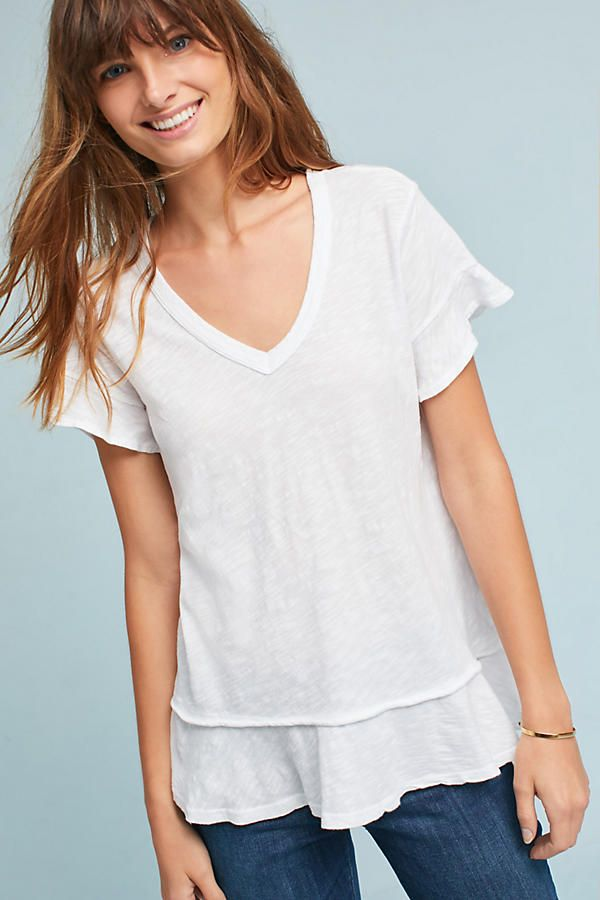 7b5aa5b8b1 Slide View  1  Ruffled V-Neck Tee