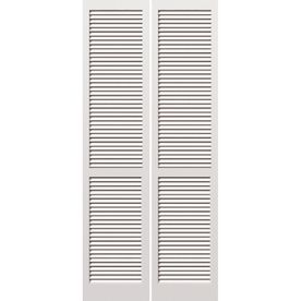 For The Closet And The Laundry Room Door Reliabilt 30 In X 79 In Louvered Solid Wood Interior Wood Doors Interior Interior Wood Shutters Bifold Door Hardware