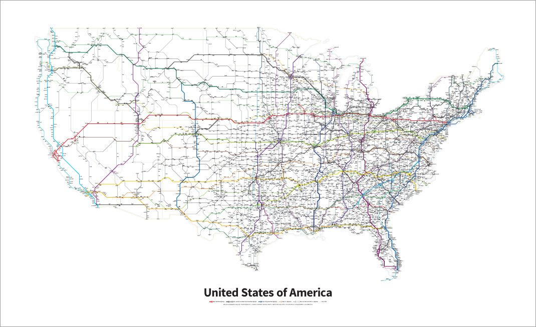 A simplified map of all Interstate Highways and US Highways in