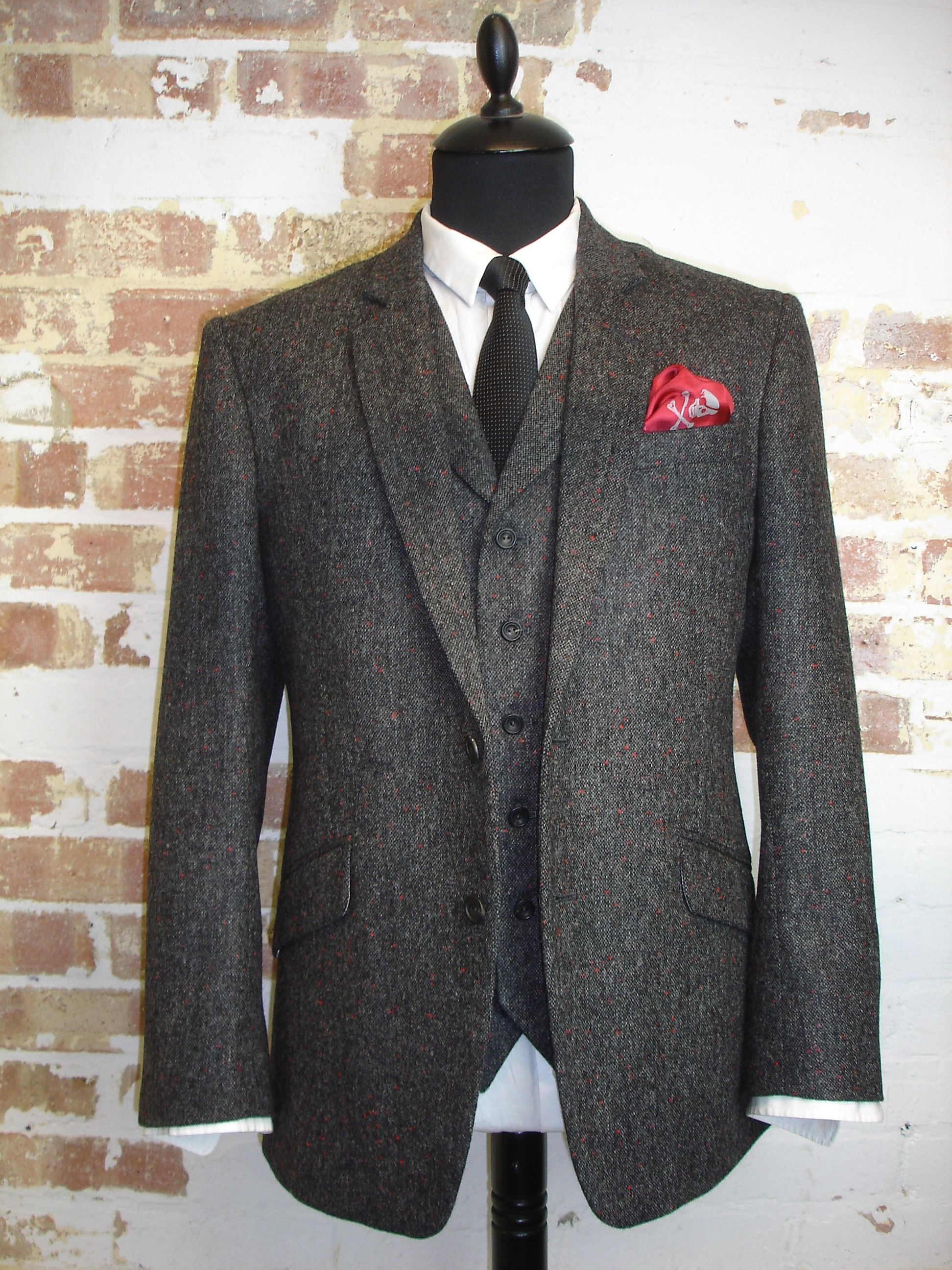 64812729f 3 Piece Suit in Grey Holland & Sherry Donegal Tweed by Tweed Addict ...