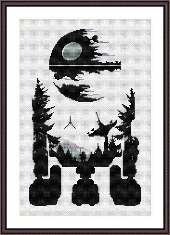 Star Wars Cross Stitch PDF pattern R2D2 - Death Star - Silhouette ...