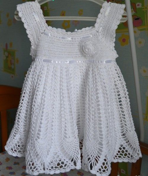 See that beautiful dress in crochet yarn for girls. step ...