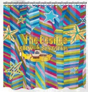 This Yellow Submarine Shower Curtain Would Complete My Yellow Submarine Bathroom Whoo Hoo Fabric Shower Curtains Beatles Yellow Yellow Submarine