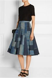 Junya WatanabePatchwork denim midi skirt