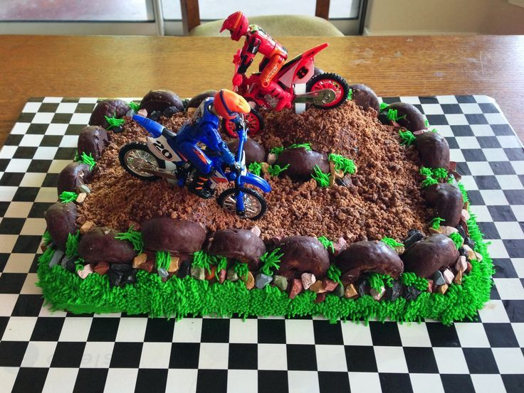 Dirt Bike Cake for my 4 year old. I used a 11x15 casserole