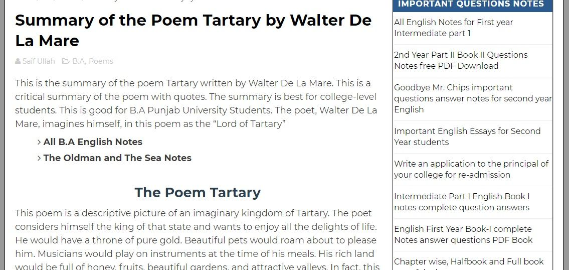 This Is The Summary Of The Poem Tartary Written By Walter De La