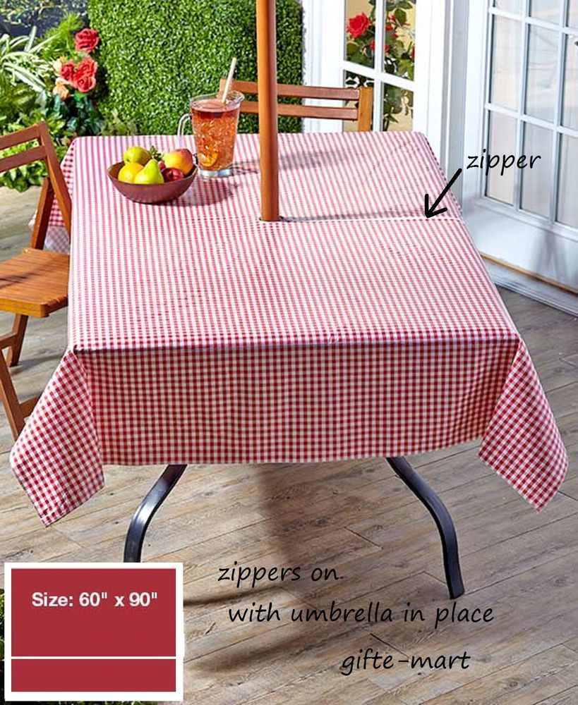 "Patio Umbrella Covers With Zipper: RED 90"" Long Zippered Vinyl Umbrella Hole Table Cover"