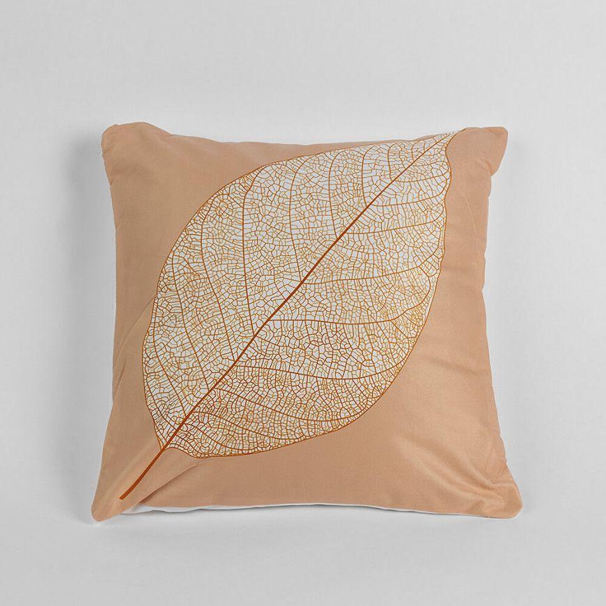 خدادية بحشوة لون بيج منقوشة بورقة شجرة Throw Pillows Beige Pillows
