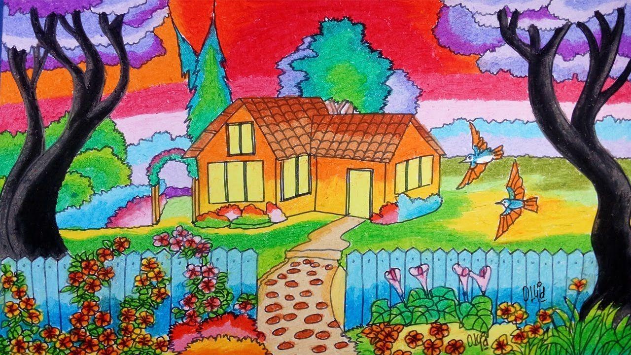 Cara Menggambar Pemandangan Dengan Crayon Oil Pastel Episode 11 Pemandangan Gambar Pastel