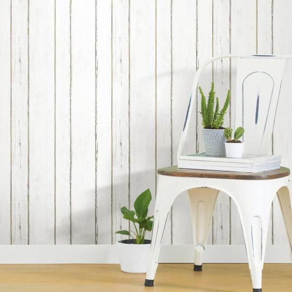 Roommates Shiplap Peel And Stick Wallpaper Covers 28 18 Sq Ft Rmk11240wp The Home Depot Peel And Stick Shiplap Peel And Stick Wallpaper White Shiplap