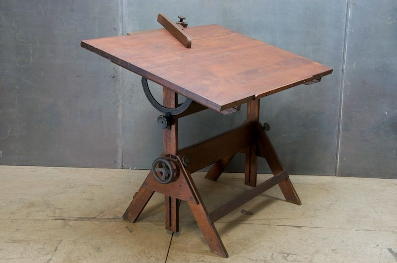 1930s Oak and Cast Iron Adjustable Drafting Table and Oak Angle. Love the  mechanical details - 1930s Oak And Cast Iron Adjustable Drafting Table And Oak Angle