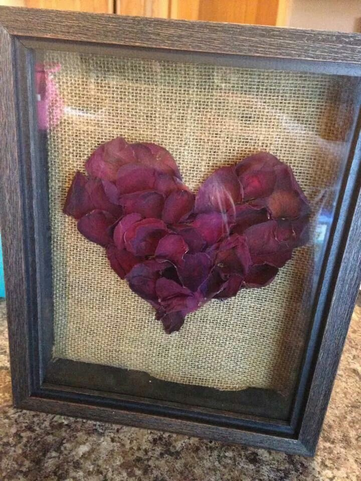 Rose petals from funeral flowers in shadow box. | crafts and diy ...