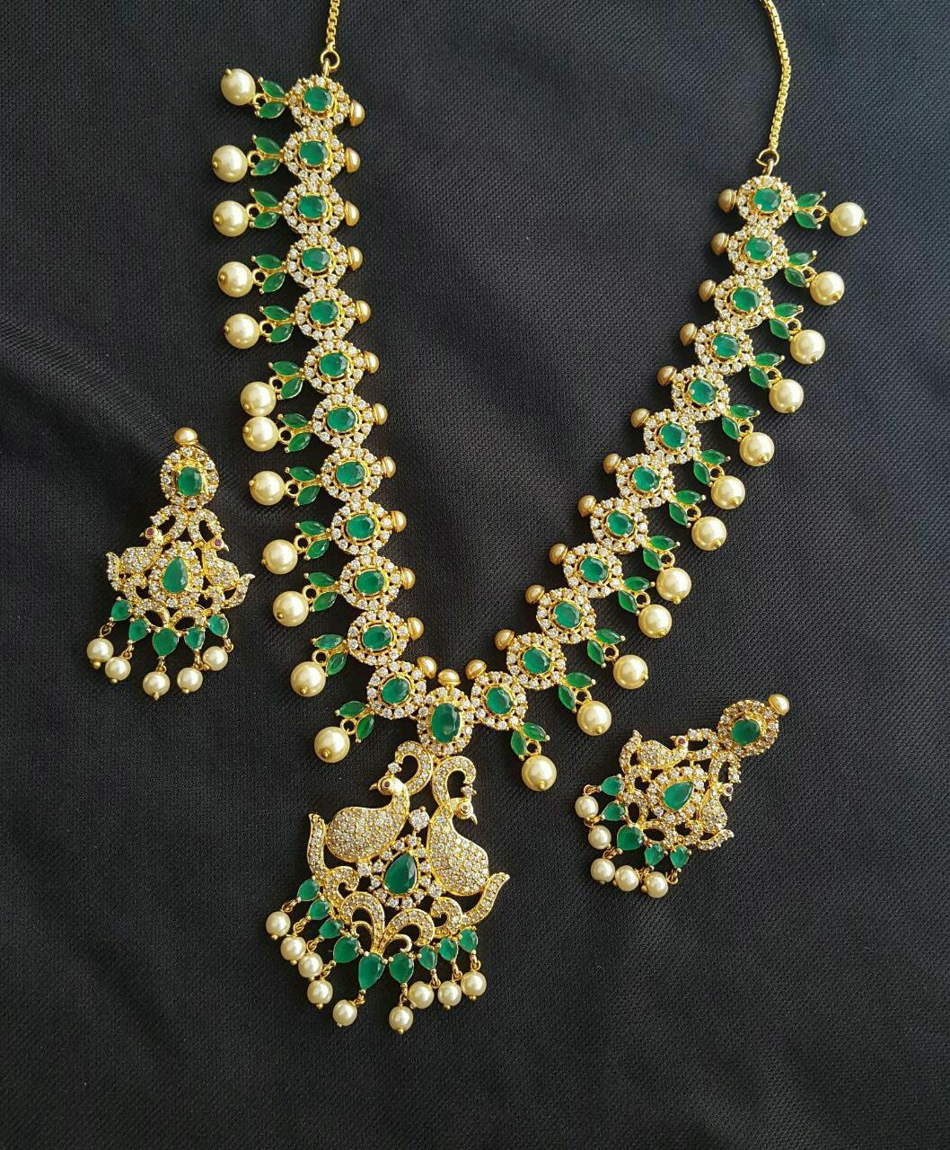 91a4265fa2 Beautiful one gram gold CZ necklace. Necklace studdedwith white and green  color CZs.To order whatsapp on 8978304347 03 December 2017