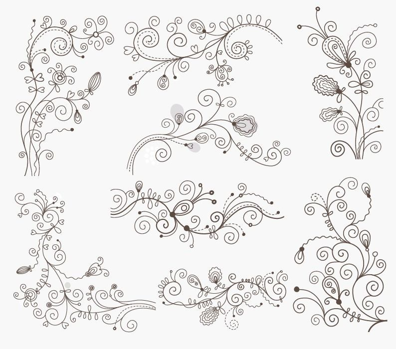 Swirl Floral Decorative Elements Vector Graphic Set Free Vector - best of periodic table of elements vector