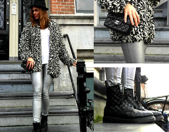 Carmen Leenen - H&M Cardigan, New Yorker Metallic Pants, Chanel Bag, Dr. Martens Quilted Boots - There is no elevator to success you have to take the stairs'