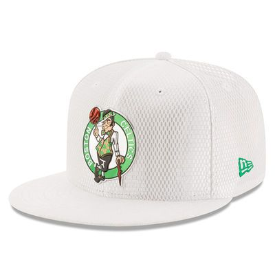 sports shoes b86f6 61d69 Men s Boston Celtics New Era White 2017 Official On-Court Collection 59FIFTY  Fitted Hat