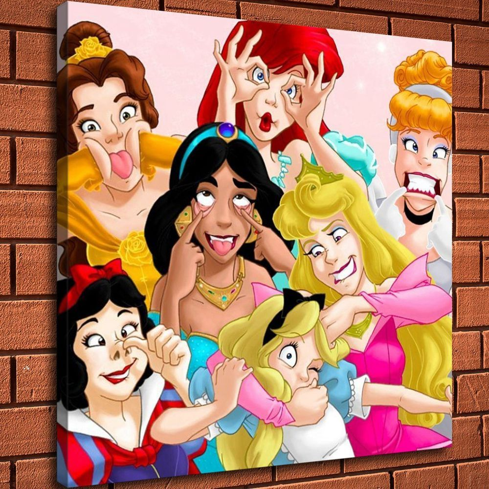 Disney Princess Funny Face Painting HD Print Canvas Home Decor Wall Art Picture | eBay