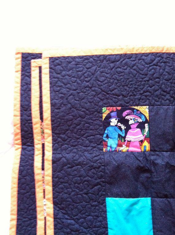 Bright Squares Dia De Los Muertos Throw Quilt by APhoenixTale, $40.00