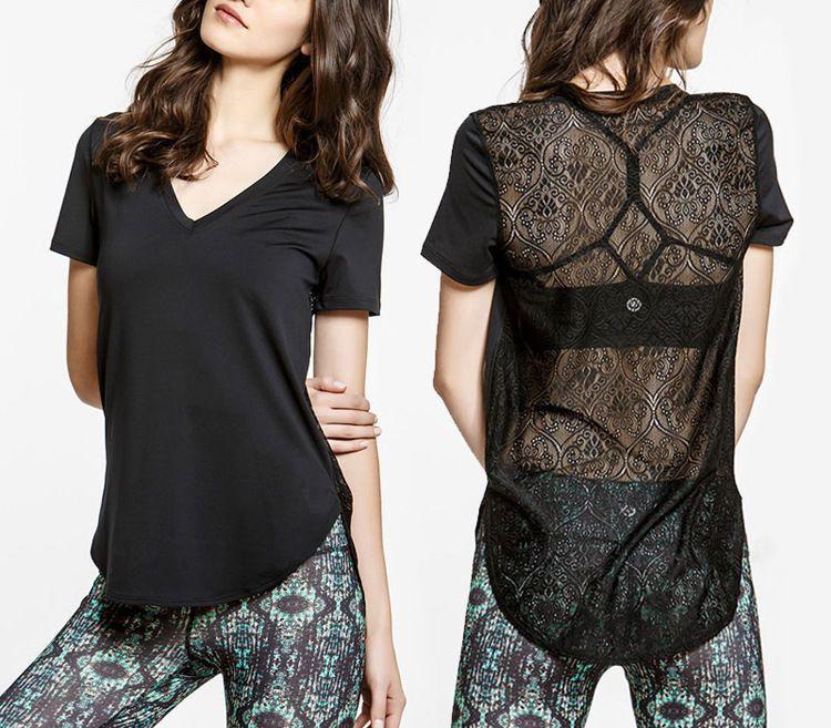 Loose Sport Fitness Short Sleeve Lace Cfitness Fitness T-Shirt Blouse V Neck