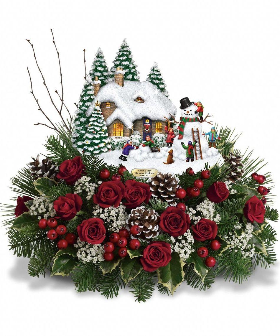 Teleflora Christmas Catalog 2021 The Teleflora Winter Wonder Bouquet Has The Newest Collectable Thomas Kincade Scene Wi Christmas Flower Arrangements Christmas Flowers Thomas Kinkade Christmas