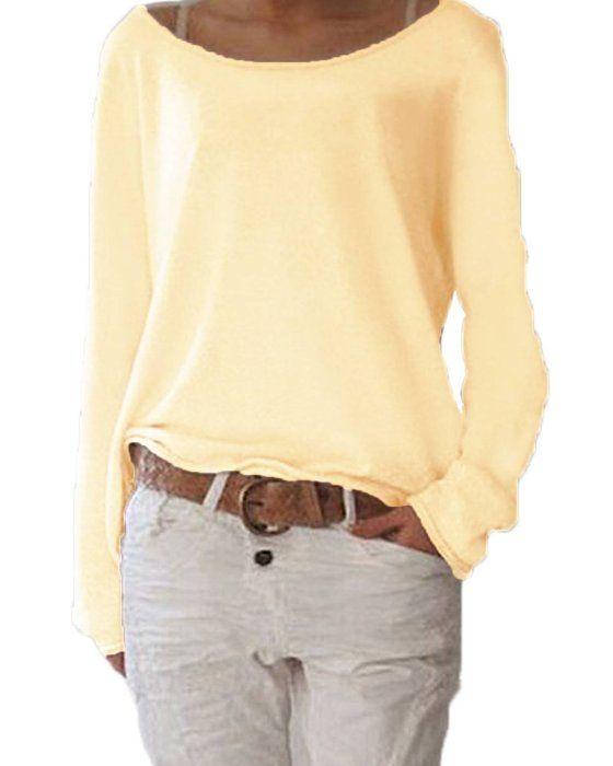 c6fe6acd88d Minetom Mujer Moda Casual Blusa Manga Larga Camisa Camiseta Con Cuello  Redondo Tops Color Sólido Amarillo 34