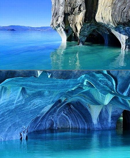 Marble Caves, Chile Formed by 6,000-plus years of waves washing up against calcium carbonate, the smooth, swirling blues of the cavern walls are a reflection of the lake's azure waters, which change in intensity and hue, depending on water levels and time of year.