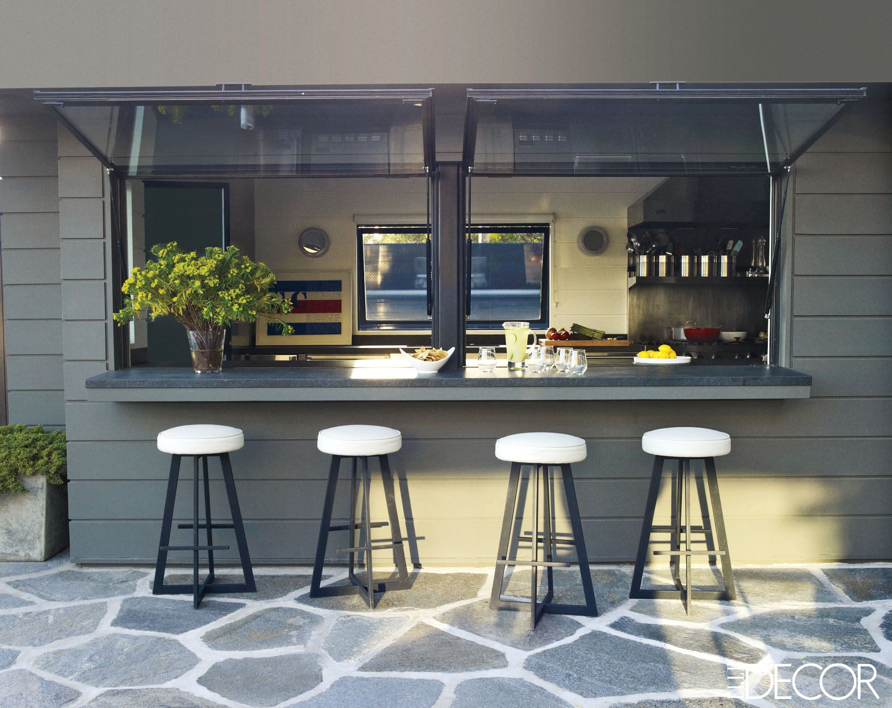 Bar outside kitchen window  courteney coxus private retreat  galley kitchens stools and kitchens