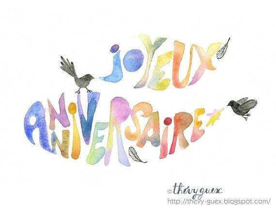 Carte Joyeux Anniversaire Aquarelle Multicolore Arc En Ciel