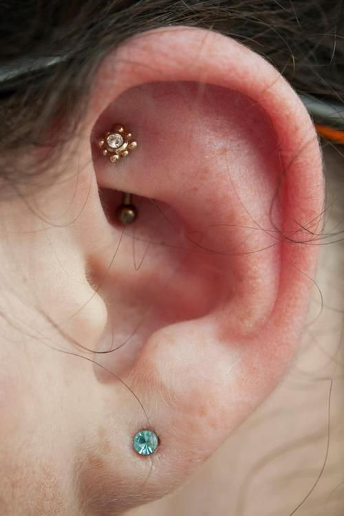 Rook piercing with curved barbell and gold ornament More Gallery