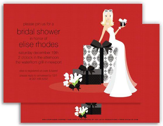 6fcb6d884122 Blonde Bride on Gift Red Invitation