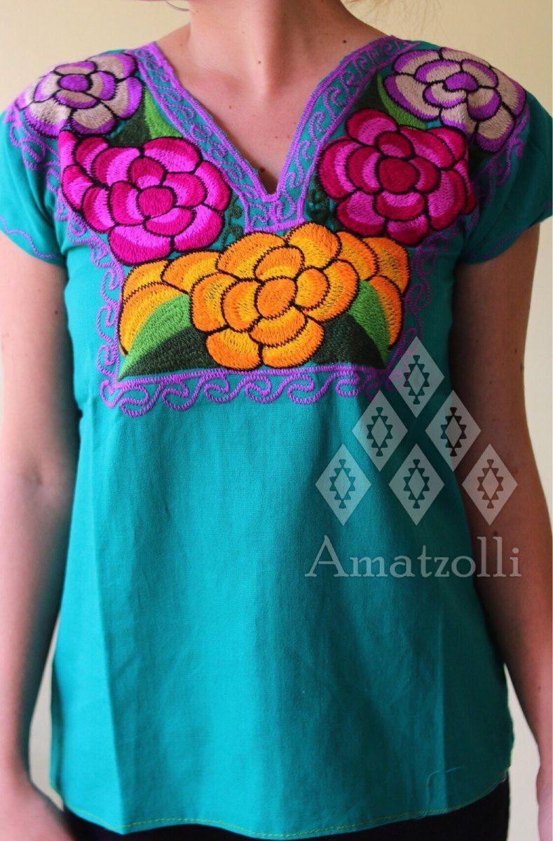7107e903c8 blusa artesanal de chiapas flores bordadas en varios colores ...