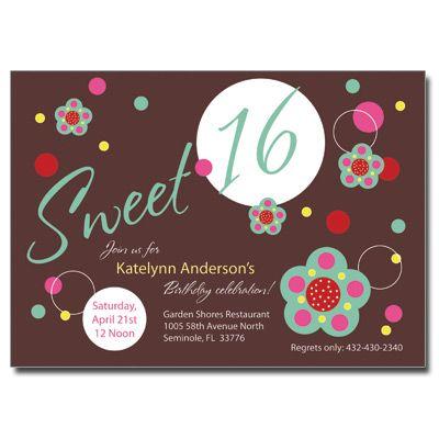 Flowers Chocolate Sweet 16 Invitation Sweet 16 Pinterest