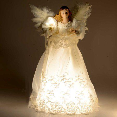 - Kurt Adler Indoor 10 Light 14-1/2-Inch Ivory Angel