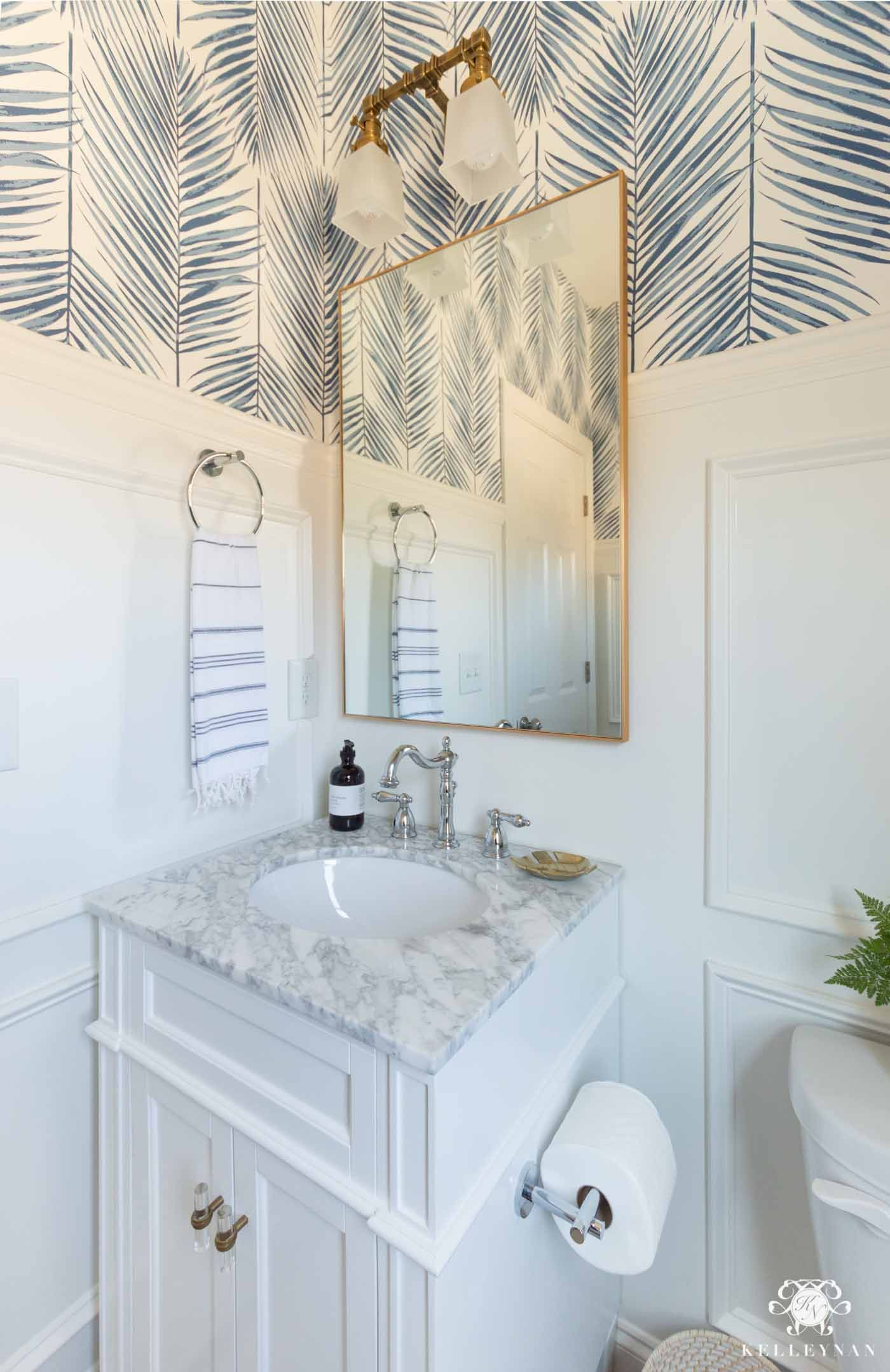 Coastal Powder Room -- A Modern, Classic Design | Kelley Nan