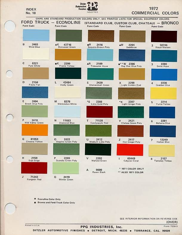 auto paint codes 1972 ford trucks - Ford Truck Paint Colors