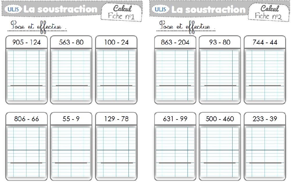 Soustraction Avec Et Sans Retenue Soustraction Calcul Ce2 Multiplication
