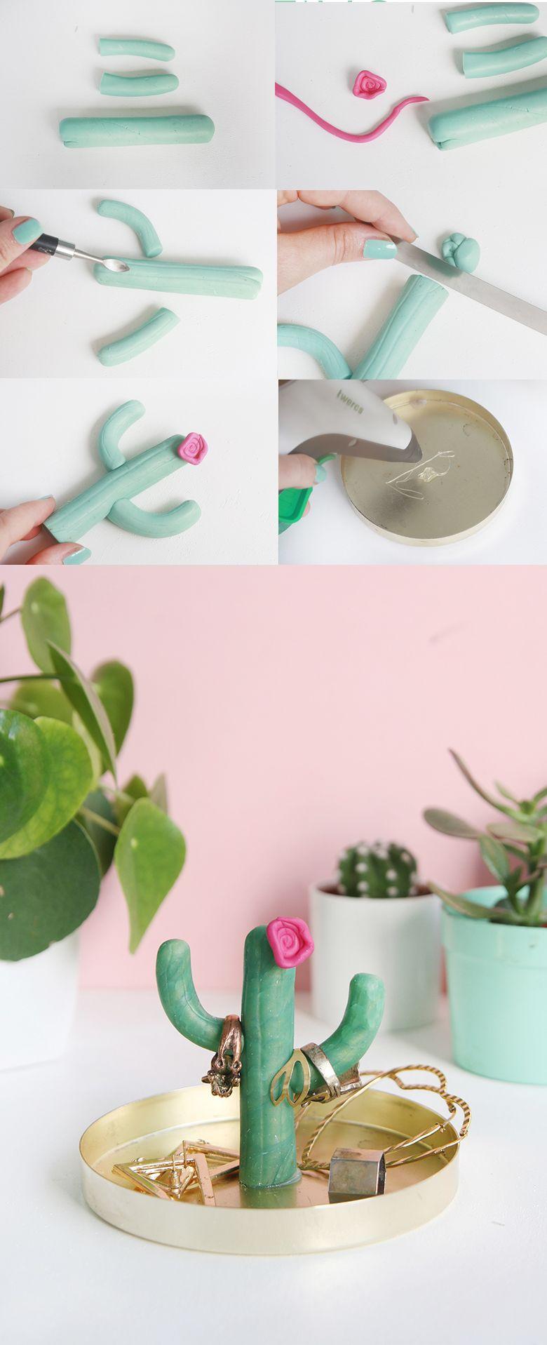 DIY: Kaktus-Ringhalter aus Fimo selbermachen #diytutorial