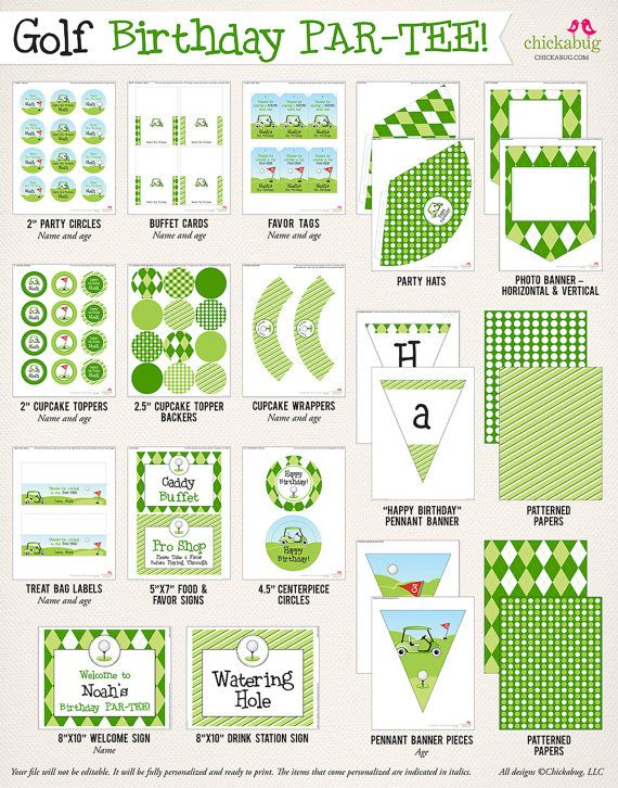 Golf Birthday Party Printable Decor Kit Over 70 Pages Of