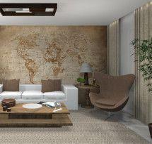 Adesivo de Parede – Mapa Decorativo Planisfério Antigo Sépia