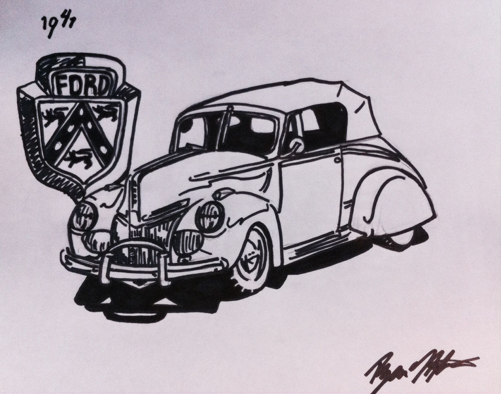 1941 Ford Coupe Convertible Dads Favorite Car Drawings