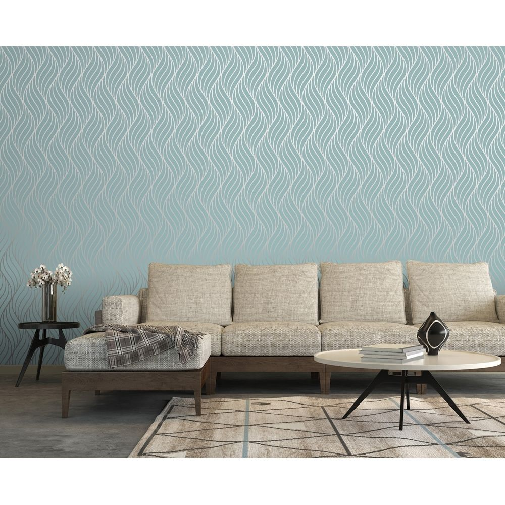 I Love Wallpaper Shimmer Indulge Wallpaper Teal / Silver (50031)   Wallpaper  From I