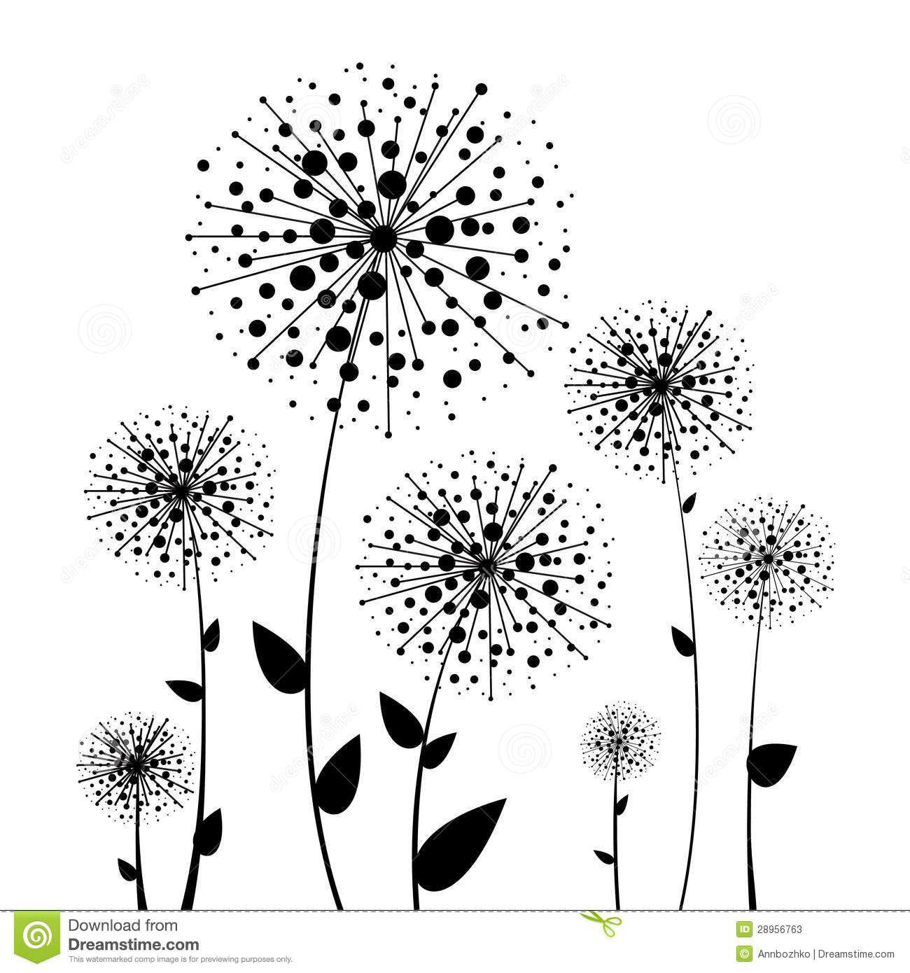 Excepcional Dente-de-leão abstrato do preto da flor | papel deparede  GS26